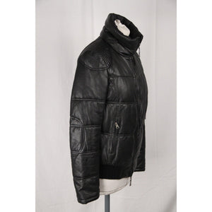 EMPORIO ARMANI Black Leather PADDED BOMBER Down JACKET Size 40