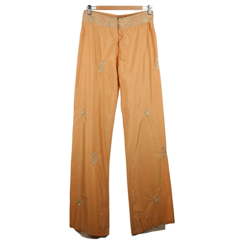 Embroidered Wide Leg Trousers Pants 42 Opherty & Ciocci