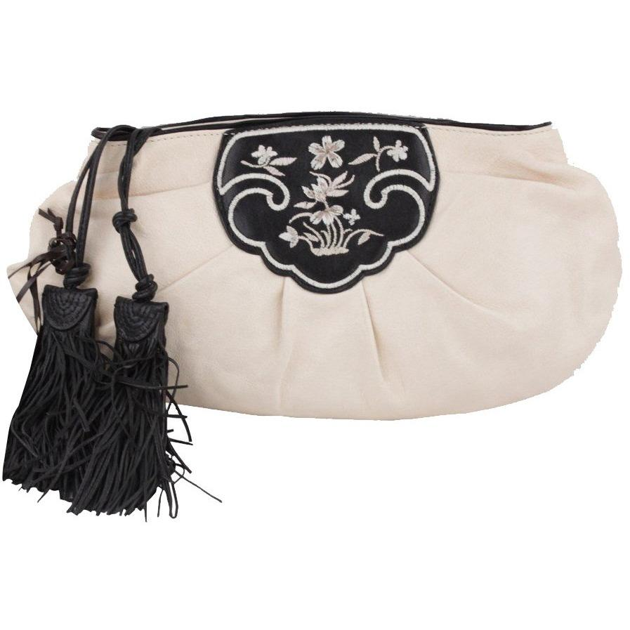 ERMANNO SCERVINO Italian White EMBROIDERED Leather CLUTCH Purse HANDBAG