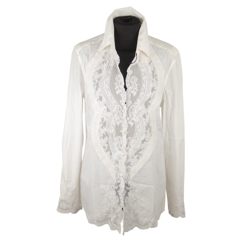 Ermanno Scervino White Cotton Blend Shirt With Silk Lace Size 44 It Opherty & Ciocci