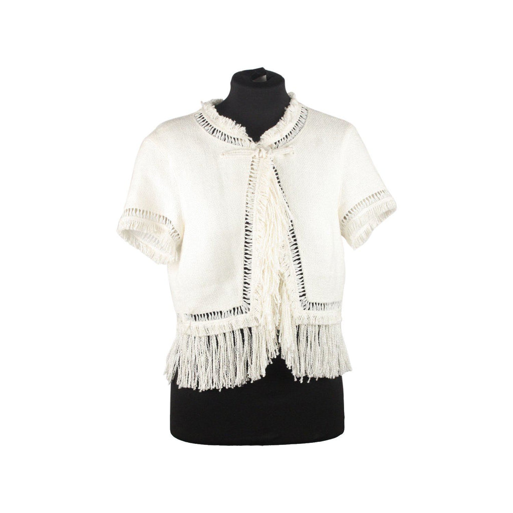 White Linen Cropped Jacket With Fringes Opherty & Ciocci