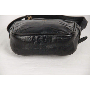 Etienne Aigner Croc Embossed Black Leather Messenger Bag Opherty & Ciocci
