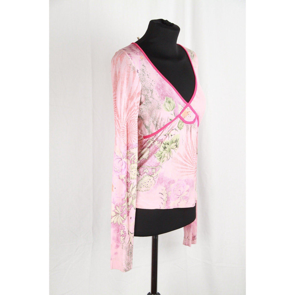 Etro Milano Pink Jersey Floral Long Sleeve Top Size 42 Opherty & Ciocci