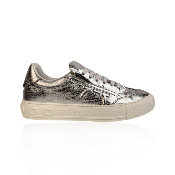 Salvatore Ferragamo Silver Leather Borg Sneakers Size US 7C EU 37.5