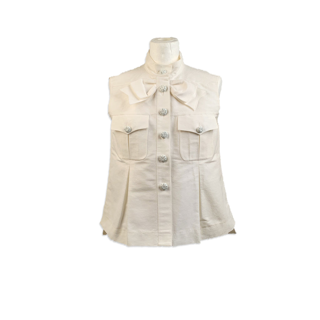 Chanel White Gros Grain Vest Sleeveless Top with Bow Size 36