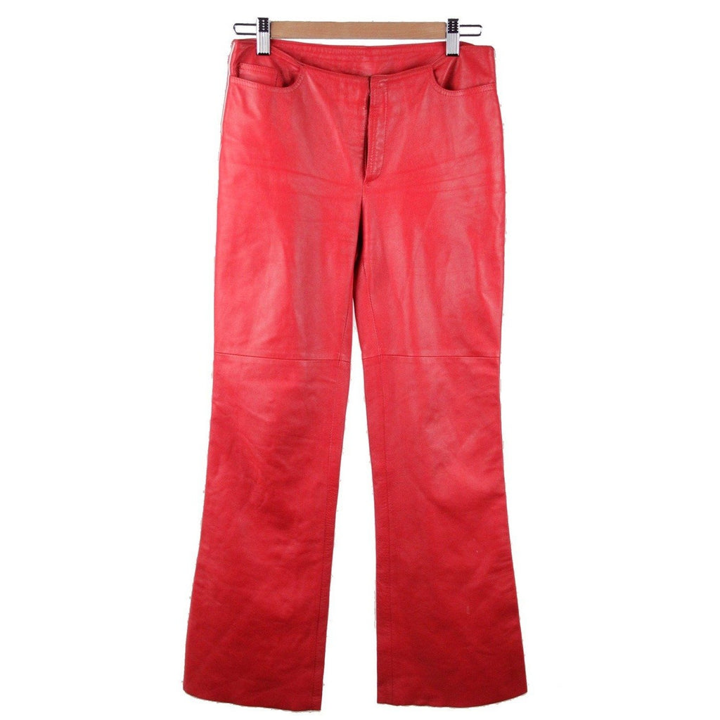 M.S.P. Red Leather Trousers Pants White Side Stripe Size 42