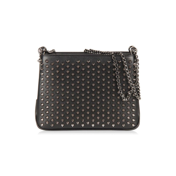 Christian Louboutin Black Leather Triloubi Small Studded Shoulder Bag