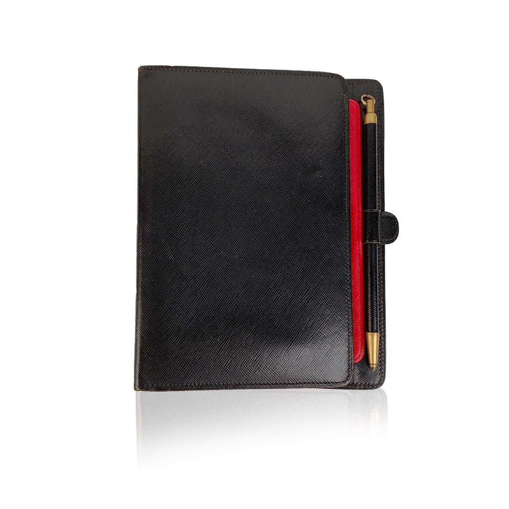 Gucci Vintage Black Leather 6 Ring Agenda Cover Notebook with Pen