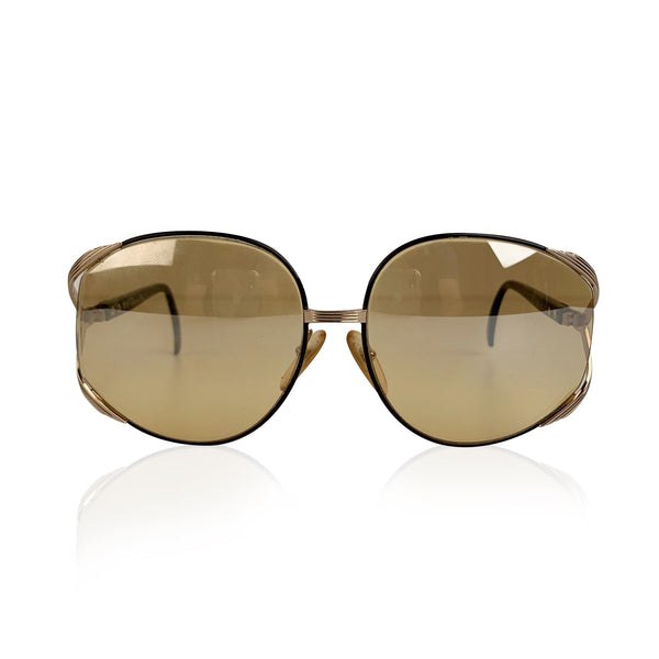 Christian Dior Vintage Gold Metal and Black Sunglasses Mod 2250