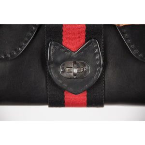 Black Leather Handbag Satchel Bamboo Detail