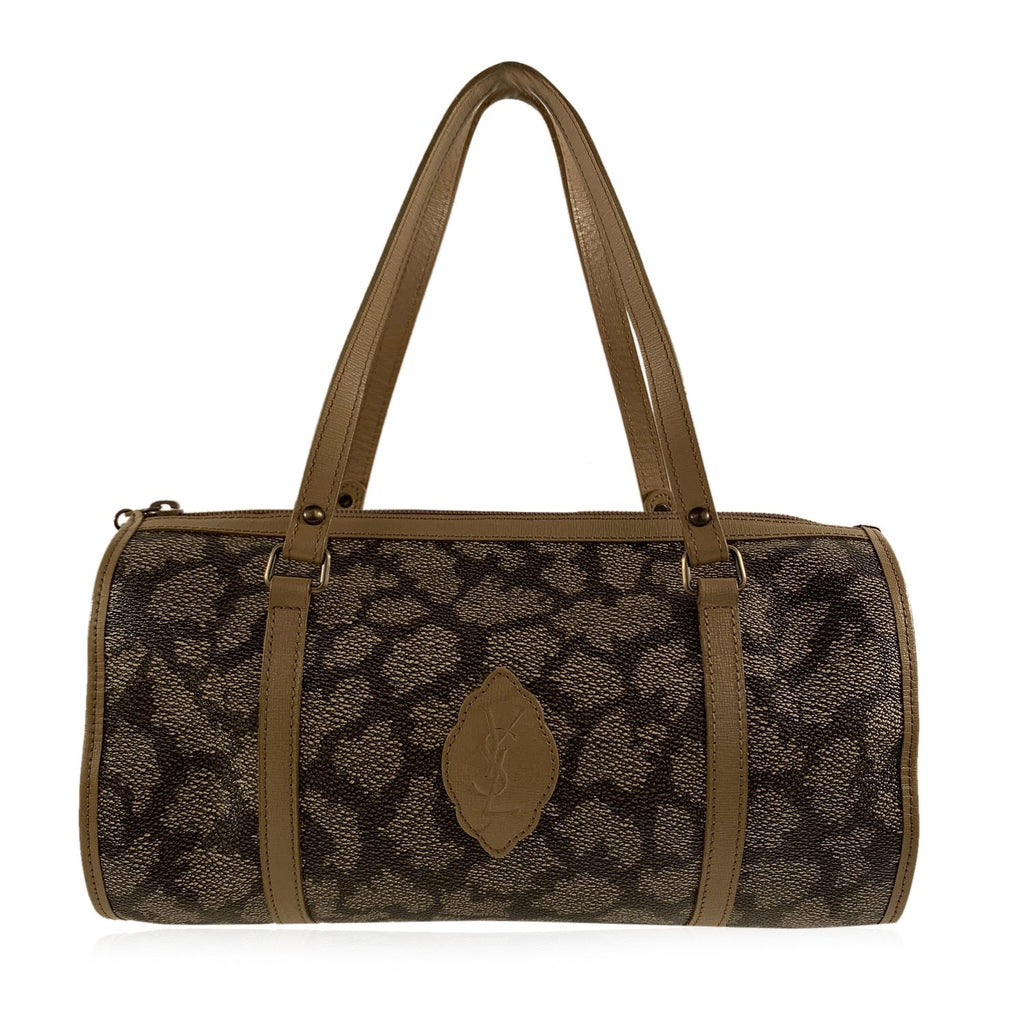 Yves Saint Laurent Vintage Tan Spotted Canvas Top Handles Bag