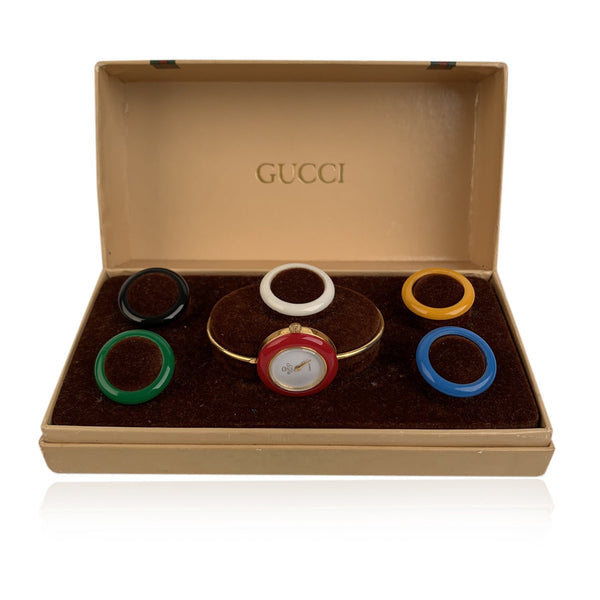 Gucci Vintage Golden 6 Bezel Wrist Watch Bracelet Bangle Rare
