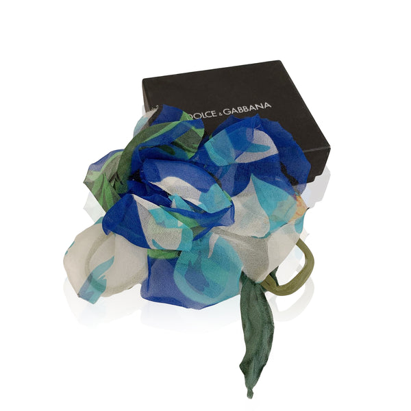 Dolce & Gabbana Blue Chiffon Silk Flower Brooch Pin