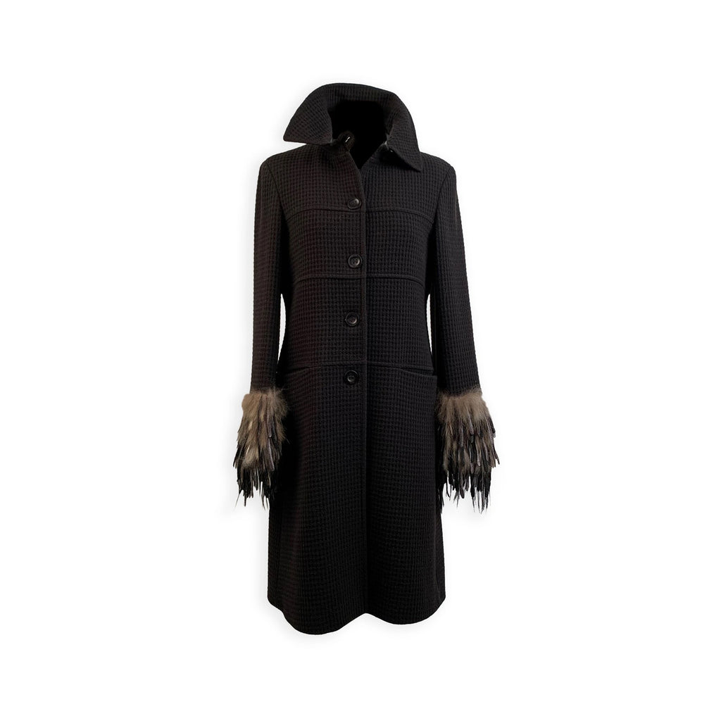 Fendi Black Cashmere and Wool Coat with Fur Trim Size 40 IT