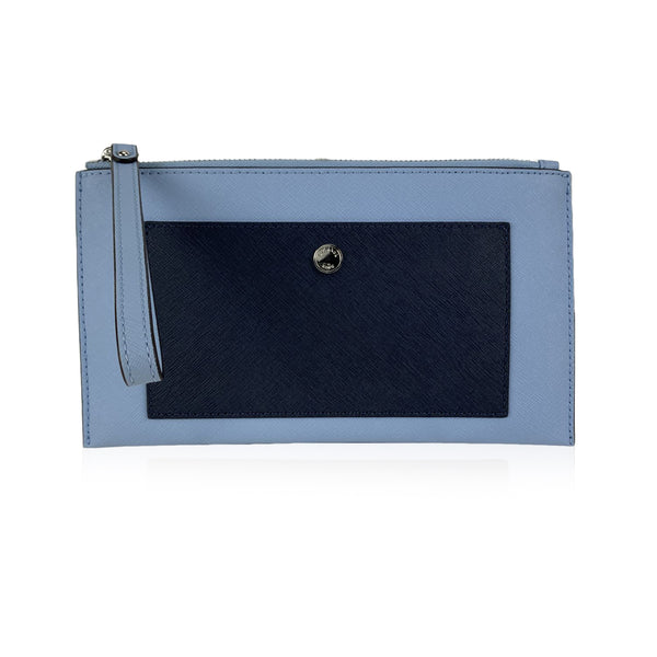 Michael Kors Blue Bicolor Leather Wristlet Pouch Bag with Pocket