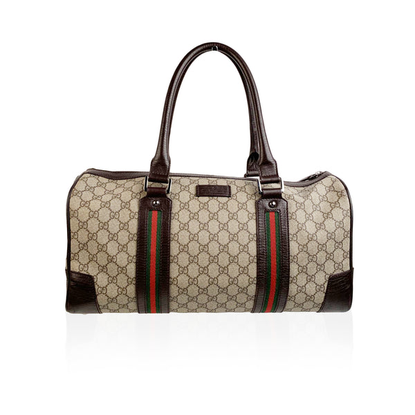 Gucci Brown Monogram Canvas Web Carry On Duffle Bag