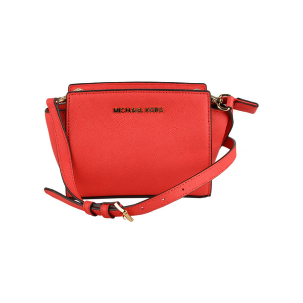 Michael Michael Kors Red Leather Mini Selma Crossbody Shoulder Bag