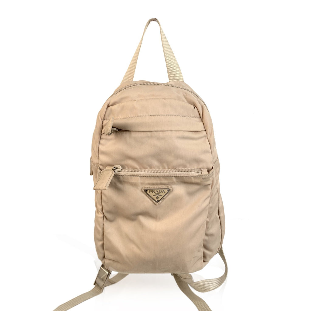 Prada Beige Nylon Canvas Small Backpack Shoulder Bag