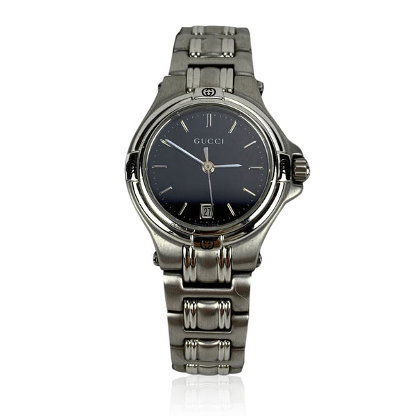 Gucci Silver Stainless Steel Mod 9040 L Wrist Watch Black Dial