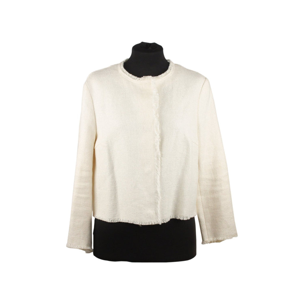 Ermanno Scervino White Linen Collarless Jacket Size 40