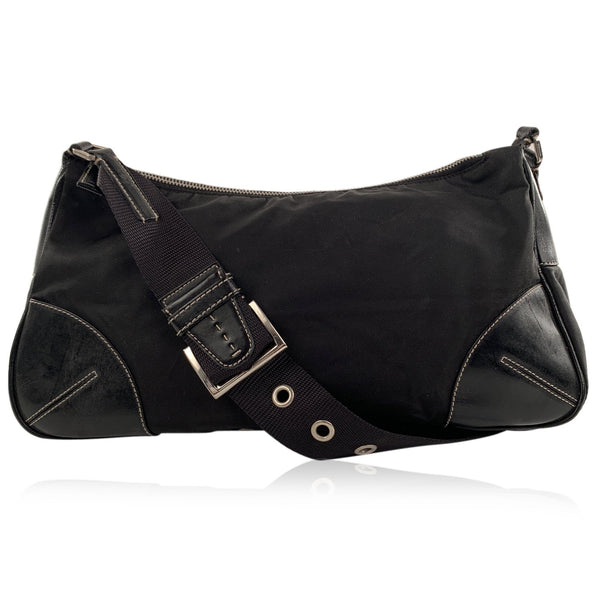 Prada Black Tessuto Vela Canvas and Leather Shoulder Bag