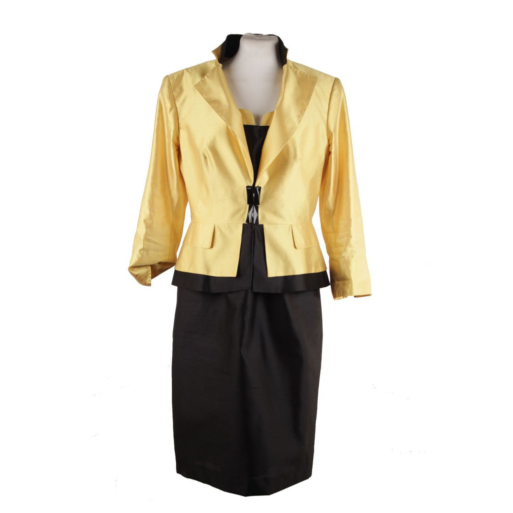 Clips Yellow and Black Silk Sleeveless Dress and Jacket Set Size 44 - OPHERTY & CIOCCI