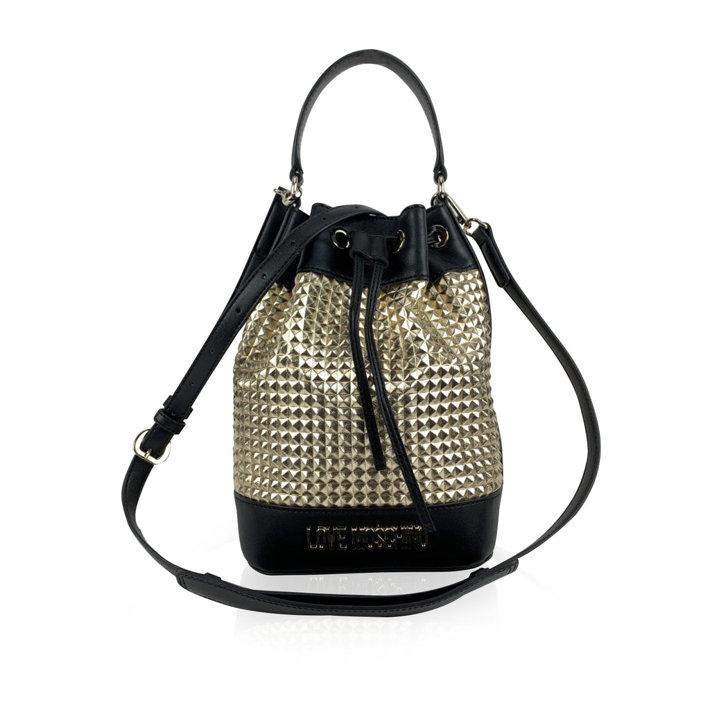 Love Moschino Black and Gold Textured Drawstring Bucket Bag