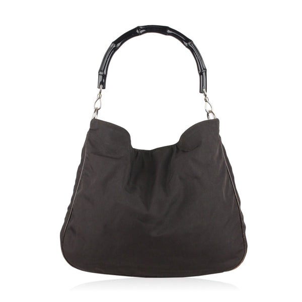 Gucci Black Canvas Hobo Shoulder Bag Tote Bamboo Handle