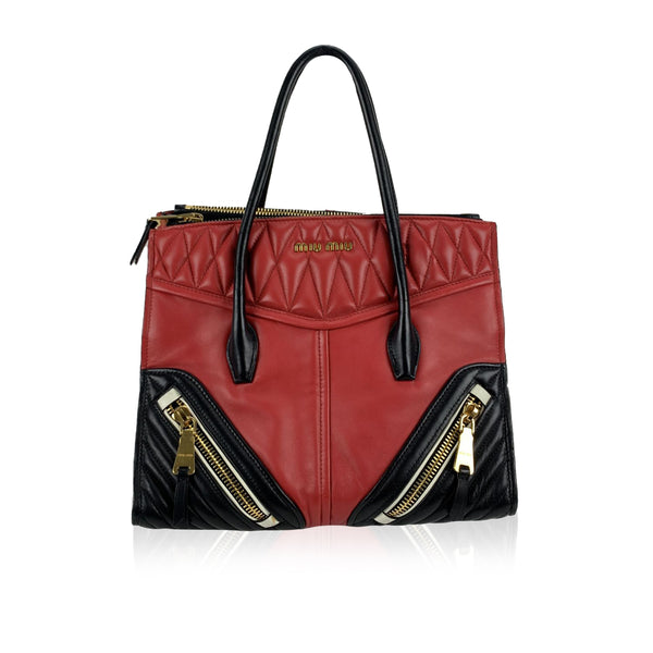 Miu Miu Red and Black Nappa Leather Biker Bag Tote Handbag