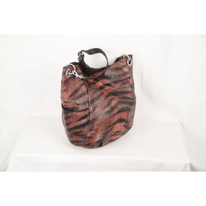 Snake Texture Leather Tote Bag