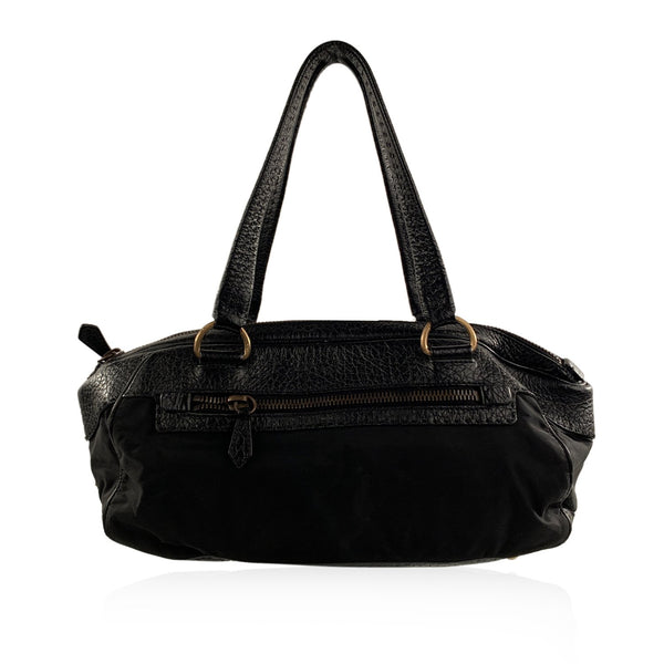 Prada Black Canvas and Leather Satchel Shoulder Bag