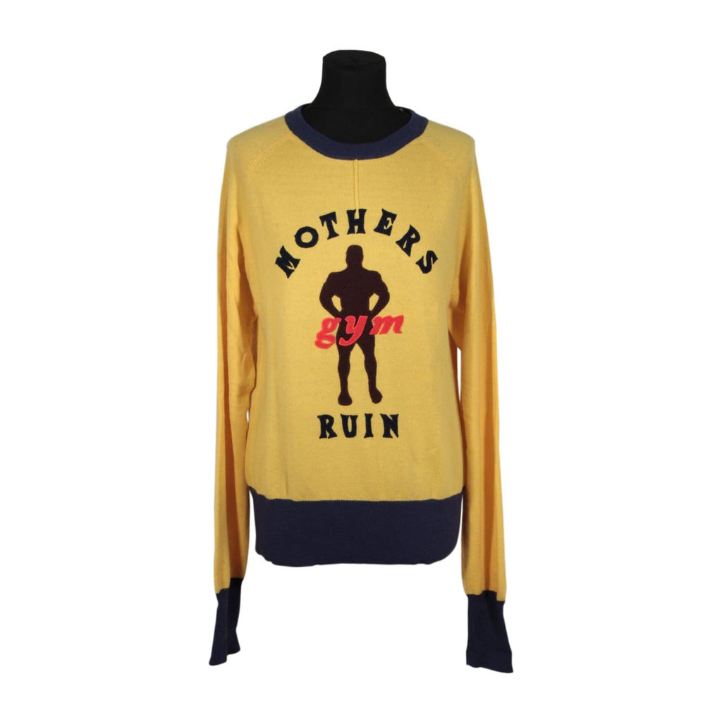 Fake London Yellow Pure Cashmere Knit Jumper Sweater Size S Opherty & Ciocci