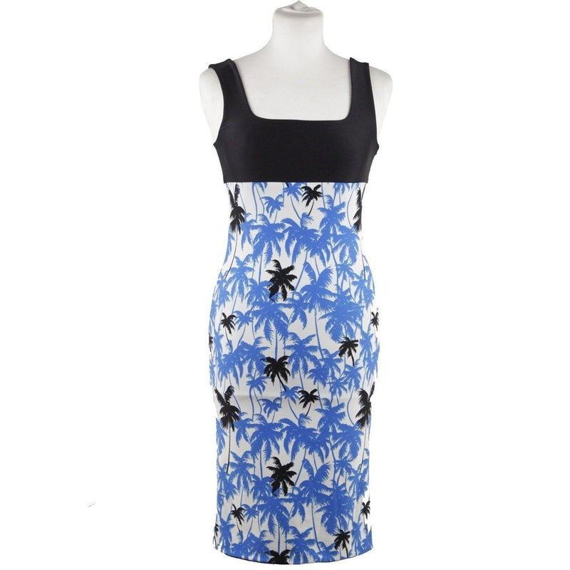 Fausto Puglisi Blue Palm Tree Print Bodycon Dress Stretch Size S Opherty & Ciocci