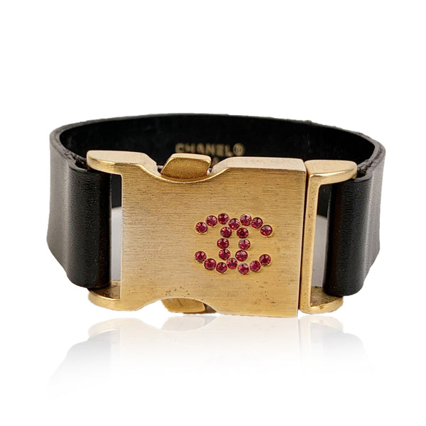 Chanel Black Leather Gold Tone Buckle and Crystals Cuff Bracelet