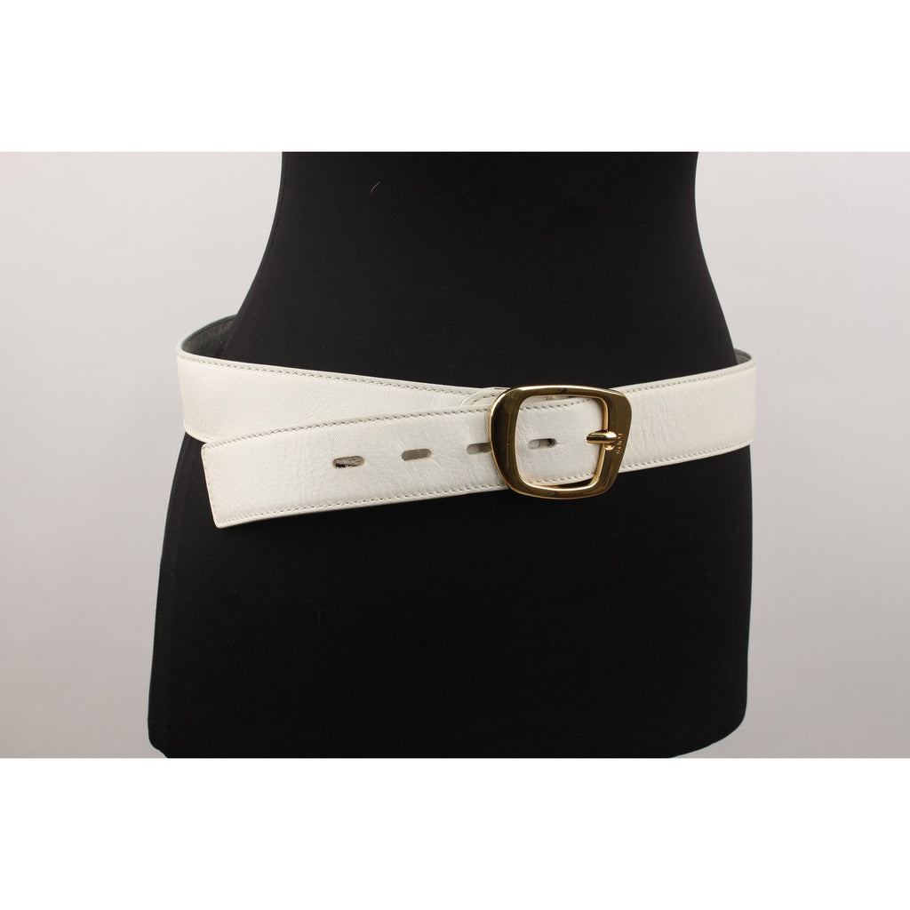 Tod's White Leather Belt Size 85