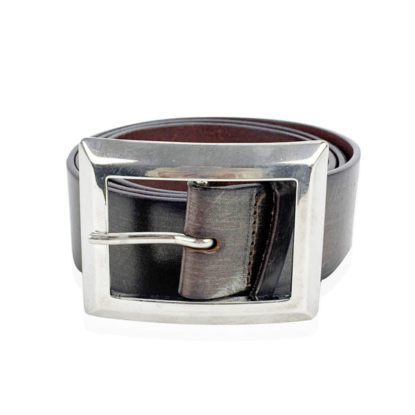 Orciani Brown Leather Belt with Silver Square Buckle Size 85