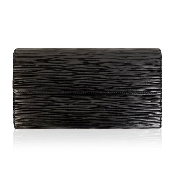 Louis Vuitton Black Epi Leather Long Continental Sarah Wallet