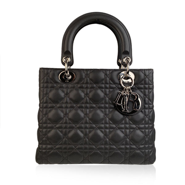 Christian Dior Gray Cannage Quilted Leather Medium Lady Dior Bag