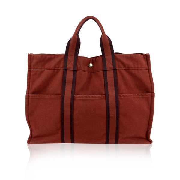 Hermes Paris Vintage Red Cotton Canvas Tote Fourre Tout MM Bag