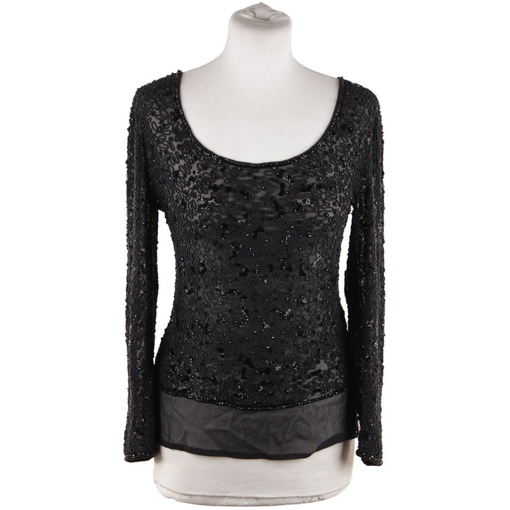 Valentino Valentino Couture Vintage Black Chiffon Beaded Blouse Long Sleeve Top - OPHERTY & CIOCCI