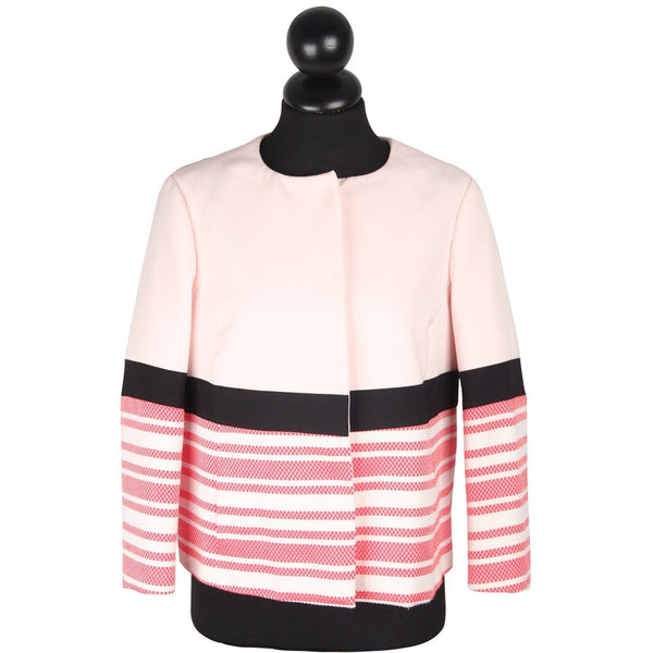 Twisty Parallel Universe Pink Cotton Blend Collarless Jacket