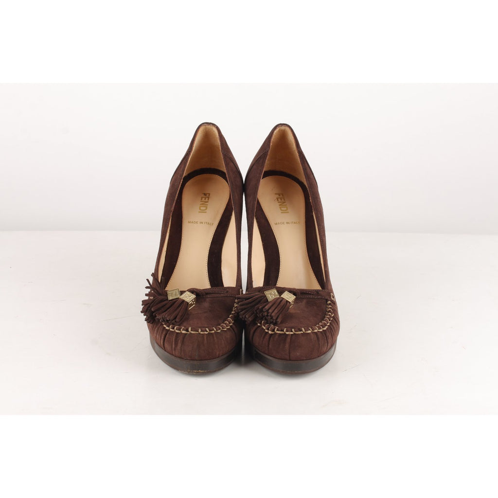 Fendi Mocassins Style Heels Shoes Pumps Size 38.5