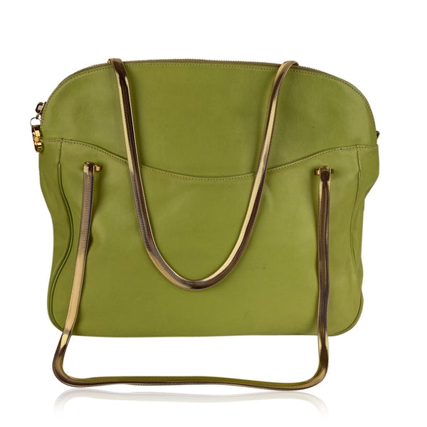 Valentino Vintage Green Leather Shoulder Bag Tote with Chain Straps