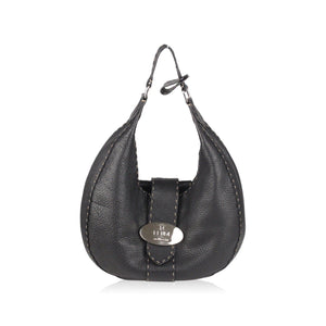 Black Leather Hobo With Logo Plate Opherty & Ciocci