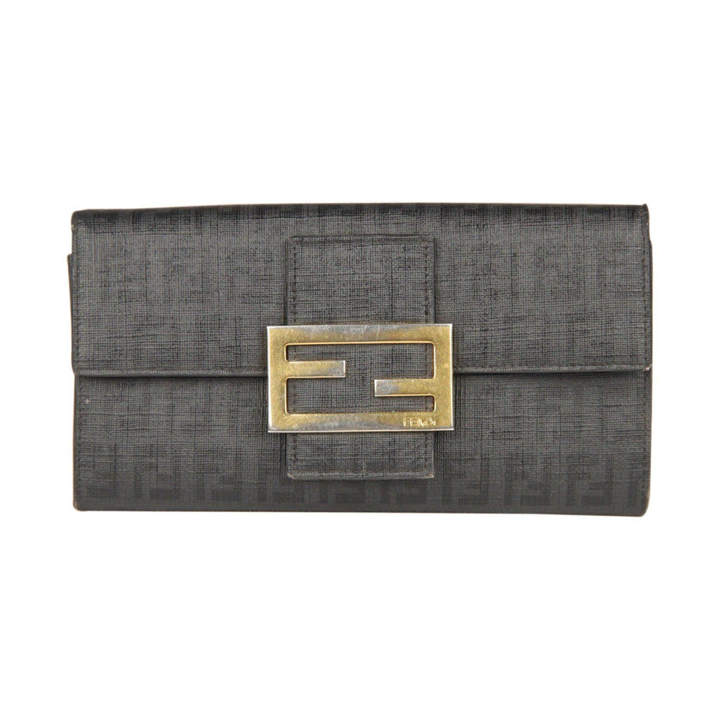 Fendi Black Monogram Canvas & Leather Wallet Coin Purse Opherty Ciocci
