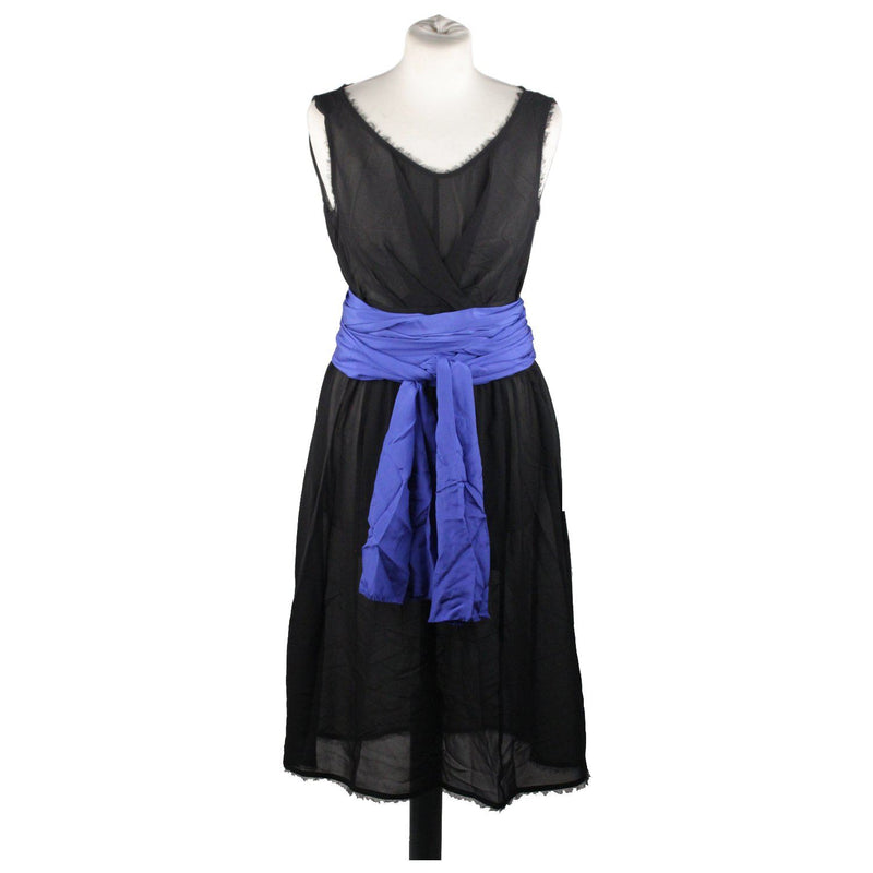 Fendi Black Silk Sleeveless Dress With Blue Belt Size 44 Opherty & Ciocci