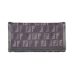 Fendi Blue Monogram Canvas Continental Long Wallet Opherty & Ciocci