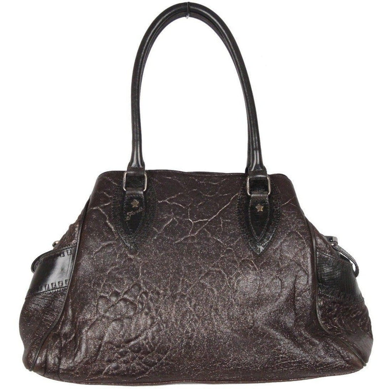Fendi Brown Metallic Crisp Leather Bag De Jour Tote Satchel Handbag Opherty & Ciocci