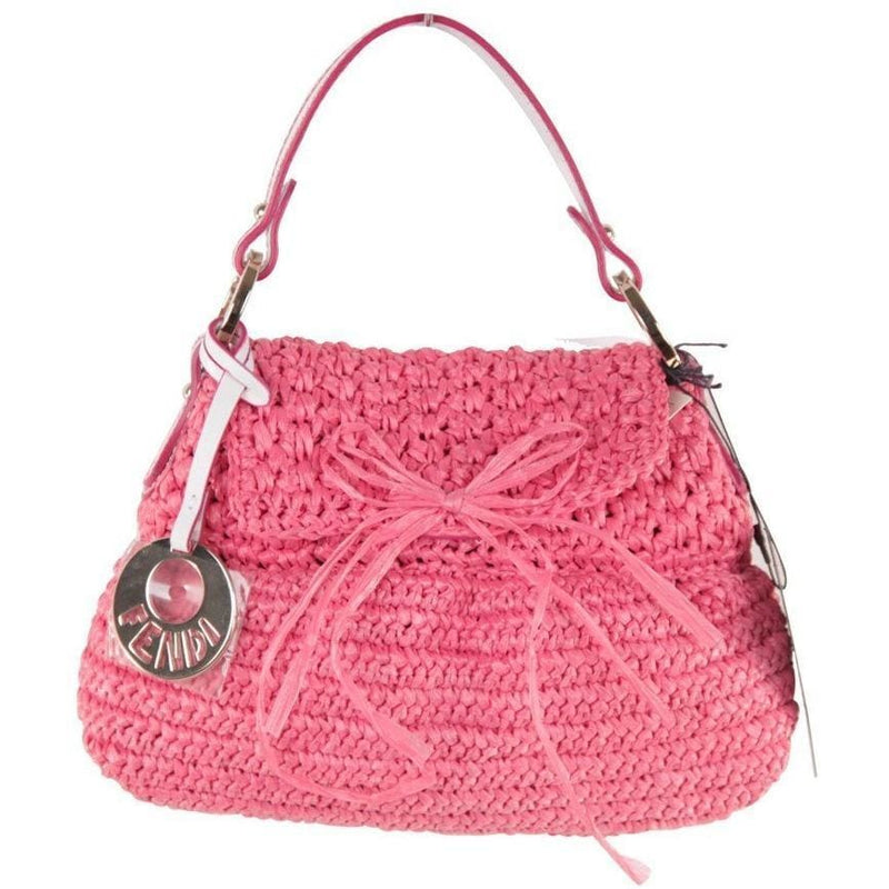 Fendi Italian Pink Woven Raffia Straw Chef Bag Flap Purse Handbag Opherty & Ciocci