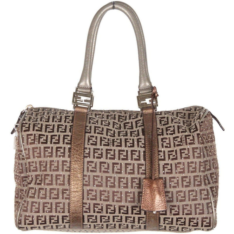 Fendi Monogram Canvas Studded Boston Bag Bauletto Forever Opherty & Ciocci